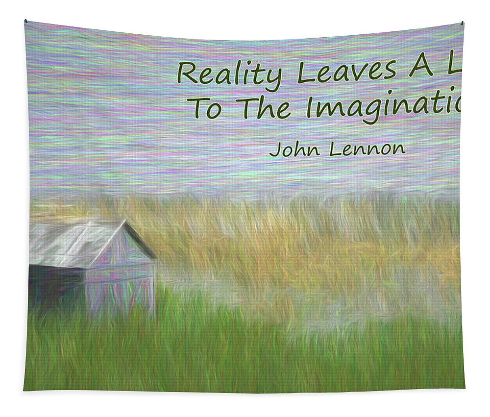 Old Shack Tapestry featuring the digital art Reality by Leslie Montgomery