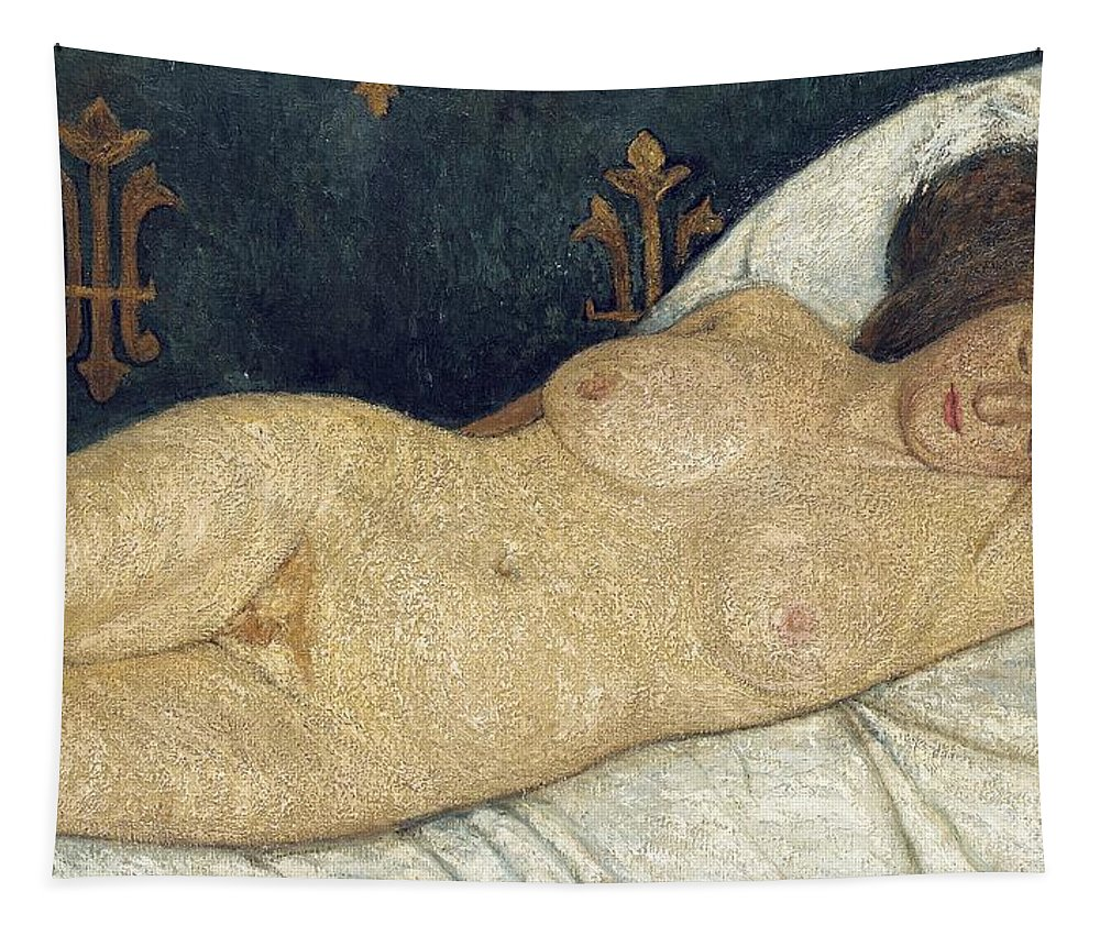 Reclining Female Nude Tapestry featuring the painting Reclining Female Nude by Paula Modersohn-Becker