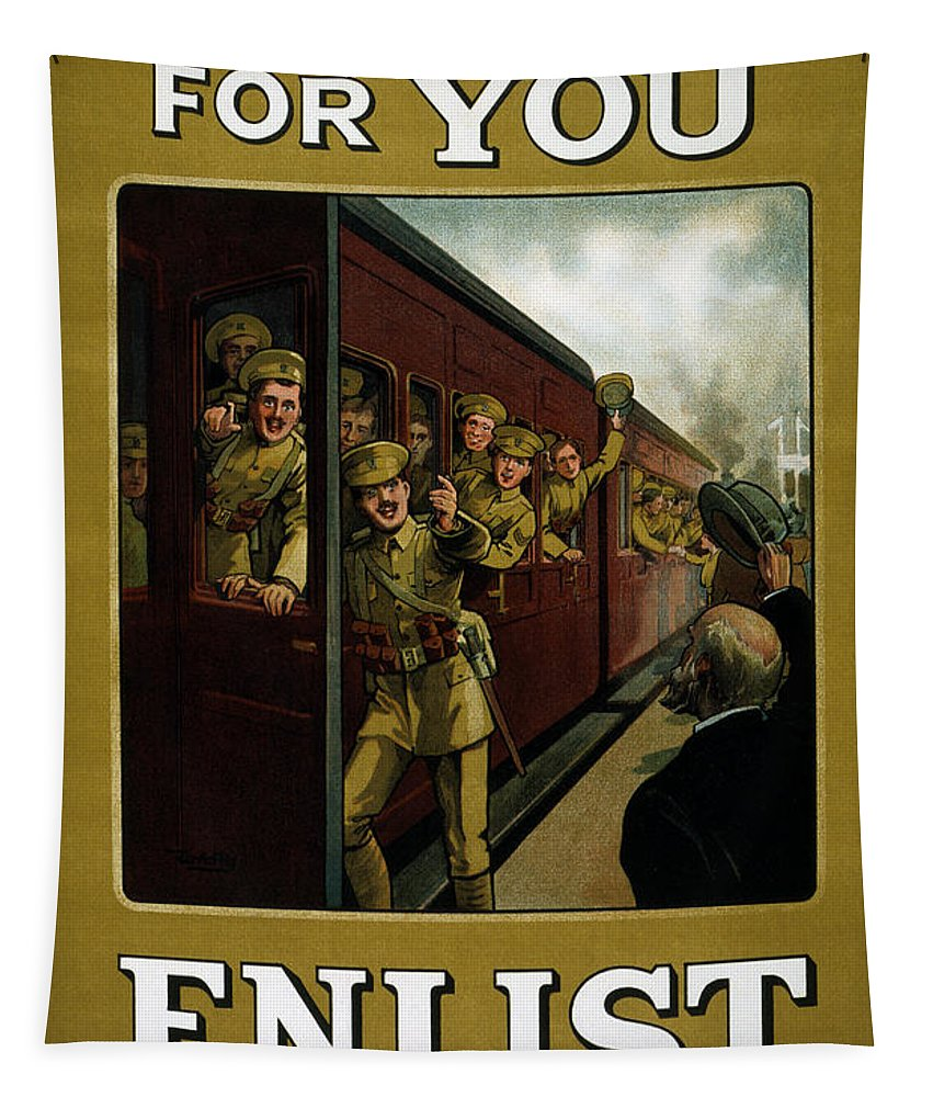 Enlist Tapestry featuring the painting Recruitment Poster by English School
