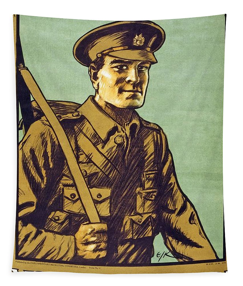 Green Tapestry featuring the painting Recruitment Poster Follow Me Your Country Needs You by English School