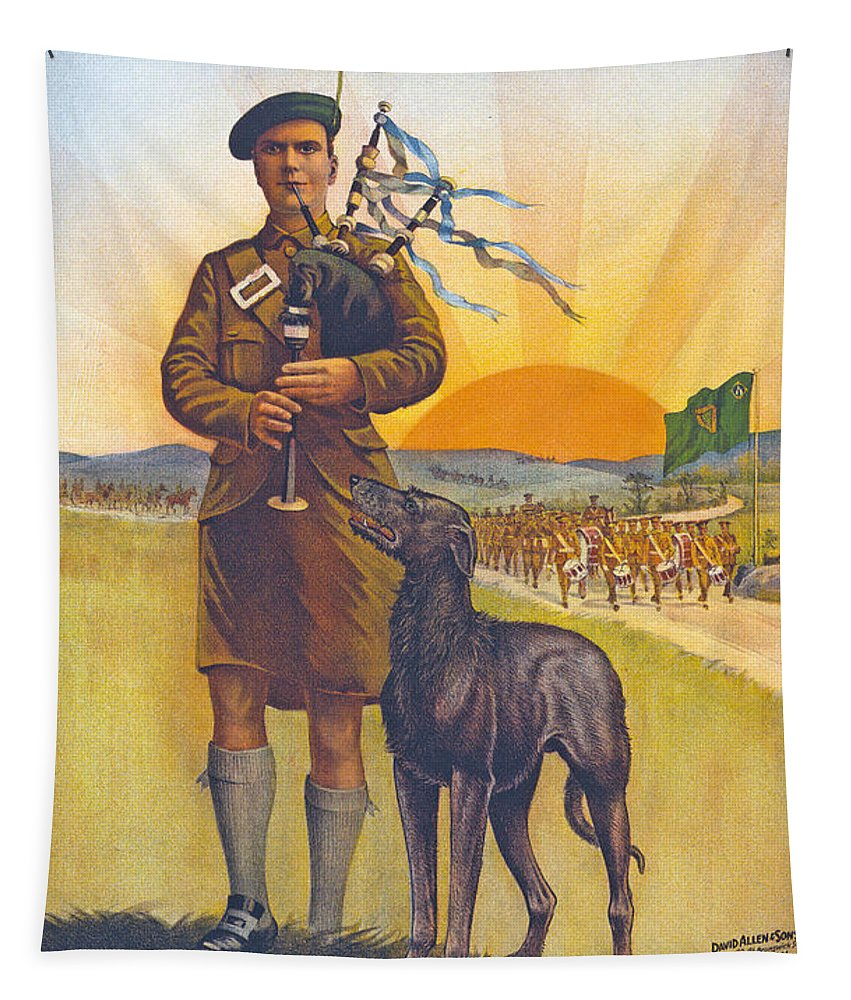 The Call To Arms. Irishmen Tapestry featuring the painting Recruitment Poster The Call To Arms Irishmen Dont You Hear It by English School