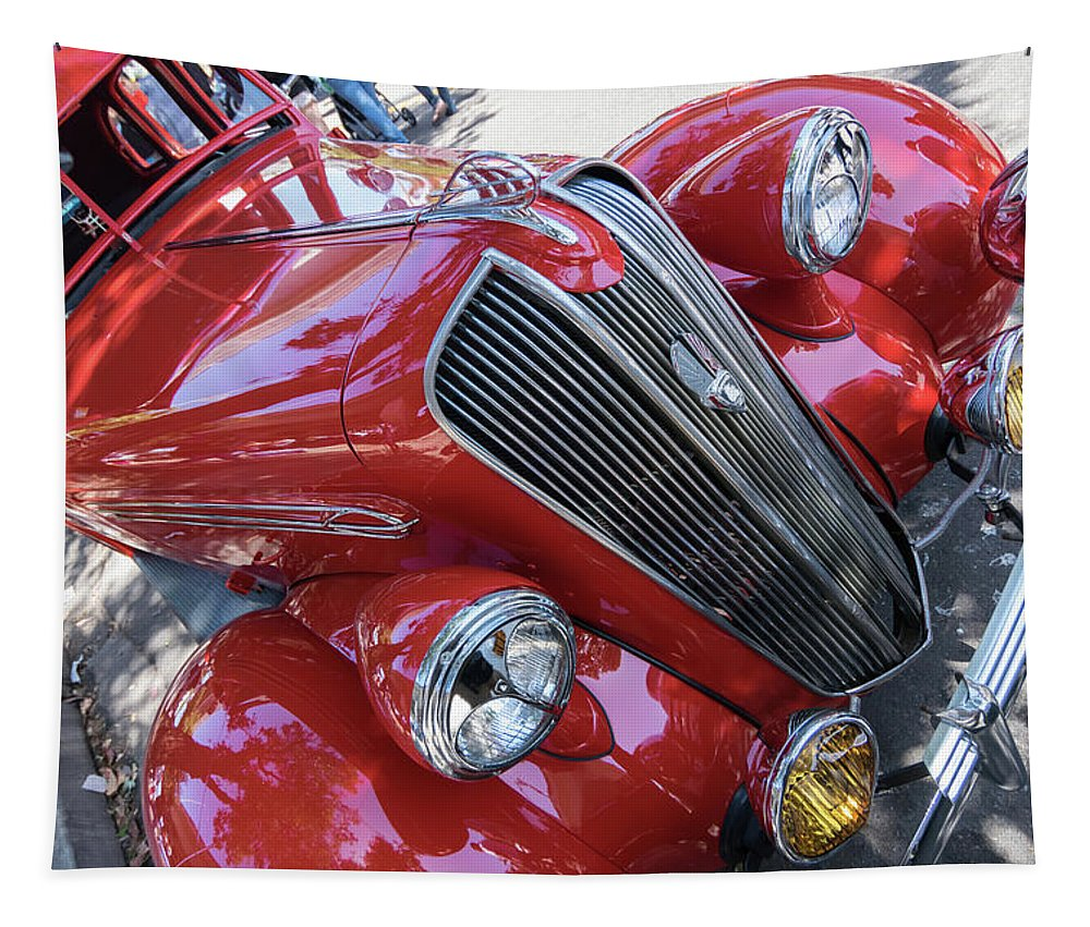 Red 1938 Plymouth Tapestry featuring the photograph Red 1938 Plymouth by Robert VanDerWal