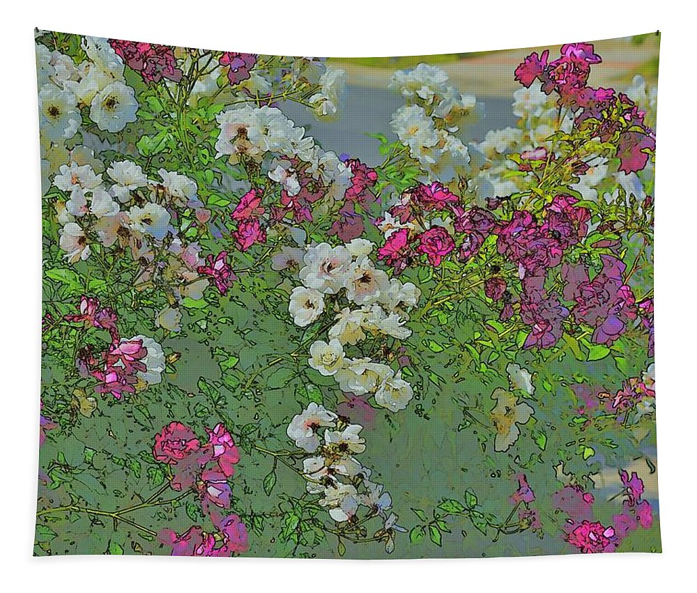 Linda Brody Tapestry featuring the photograph Red And White Roses Bright Toned Abstract by Linda Brody