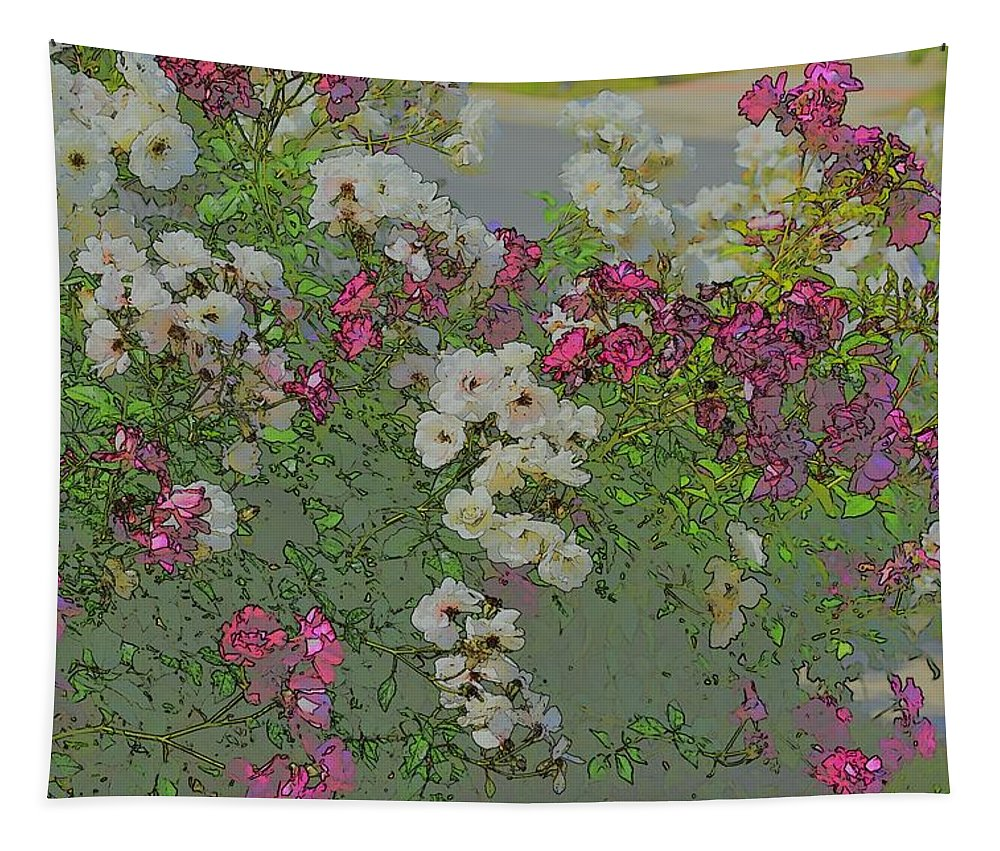Linda Brody Tapestry featuring the photograph Red And White Roses Medium Toned Abstract by Linda Brody