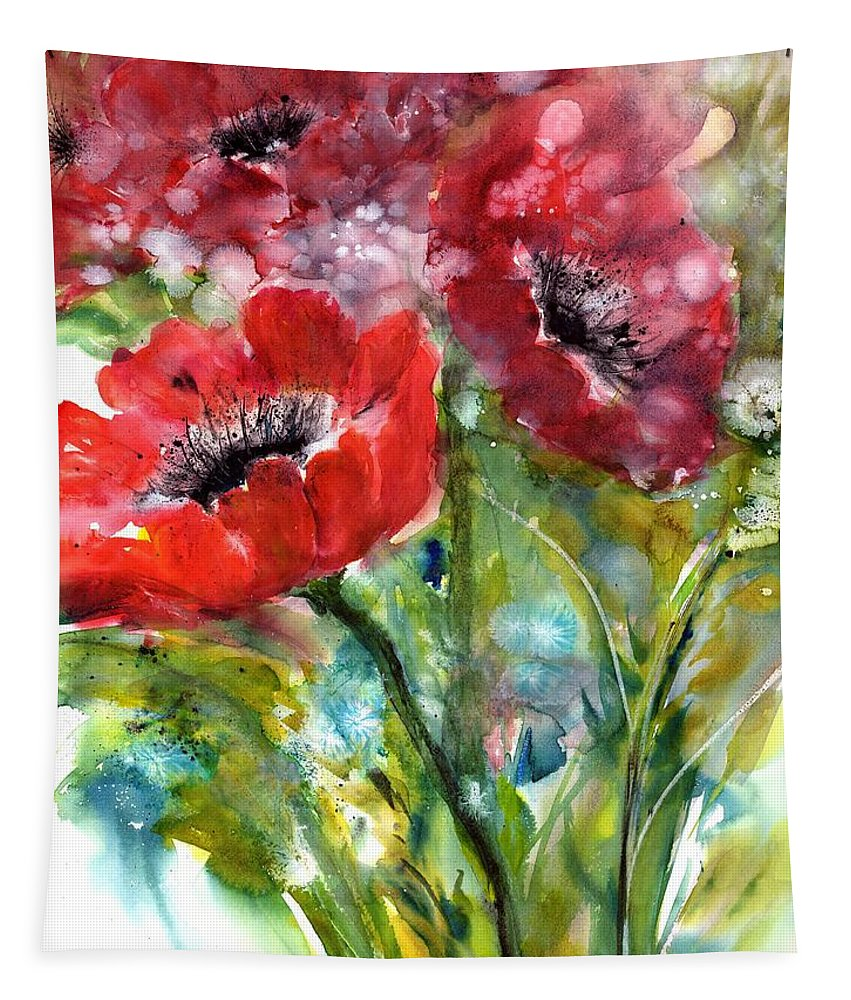Red Anemone Flowers Tapestry featuring the painting Red Anemone Flowers by Sabina Von Arx