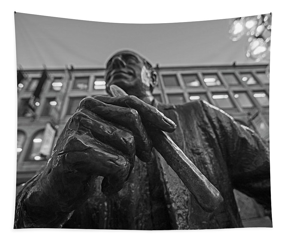 Boston Tapestry featuring the photograph Red Auerbach Chilling At Fanueil Hall Black And White by Toby McGuire