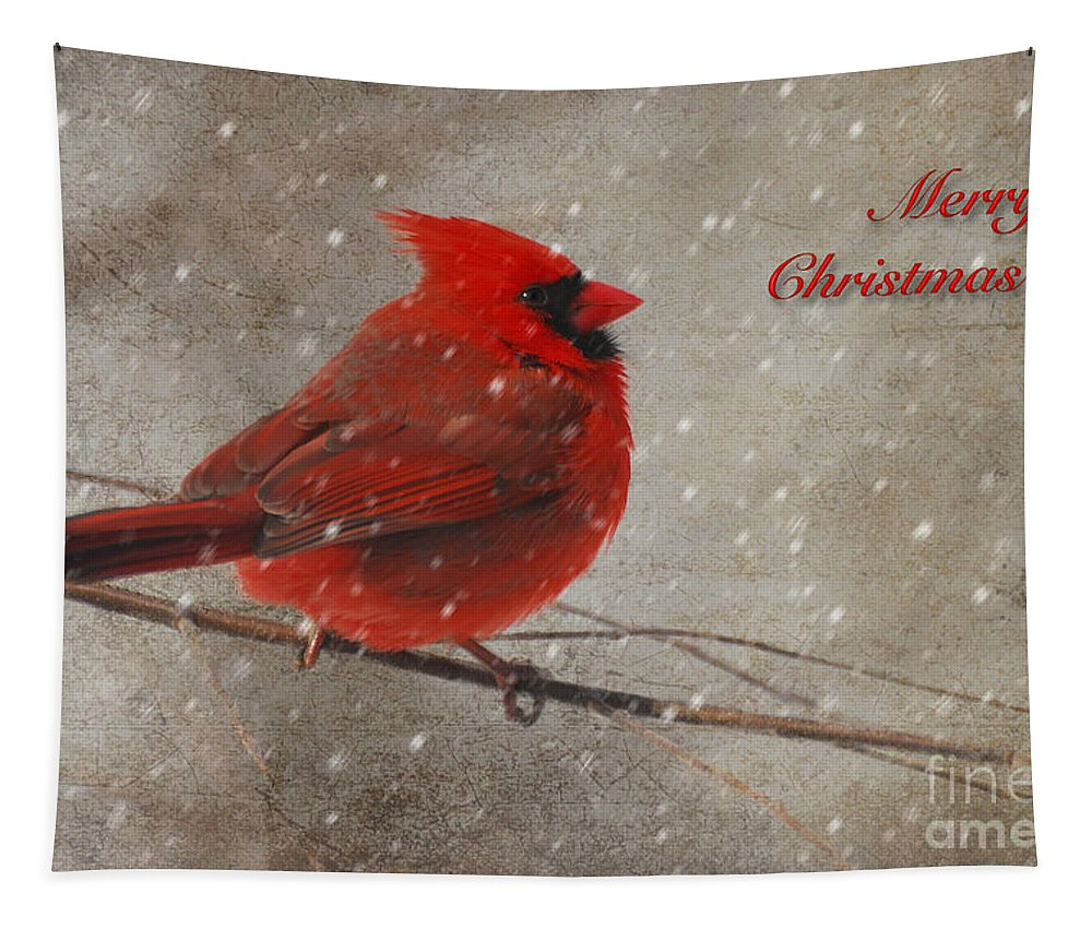 Christmas Tapestry featuring the photograph Red Bird In Snow Christmas Card by Lois Bryan