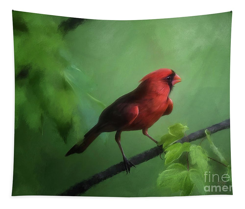 Cardinal Tapestry featuring the digital art Red Bird On A Hot Day by Lois Bryan
