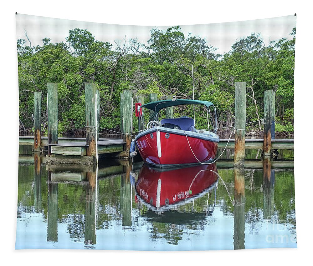 Boat Tapestry featuring the photograph Red Boat Docked Florida by Edward Fielding