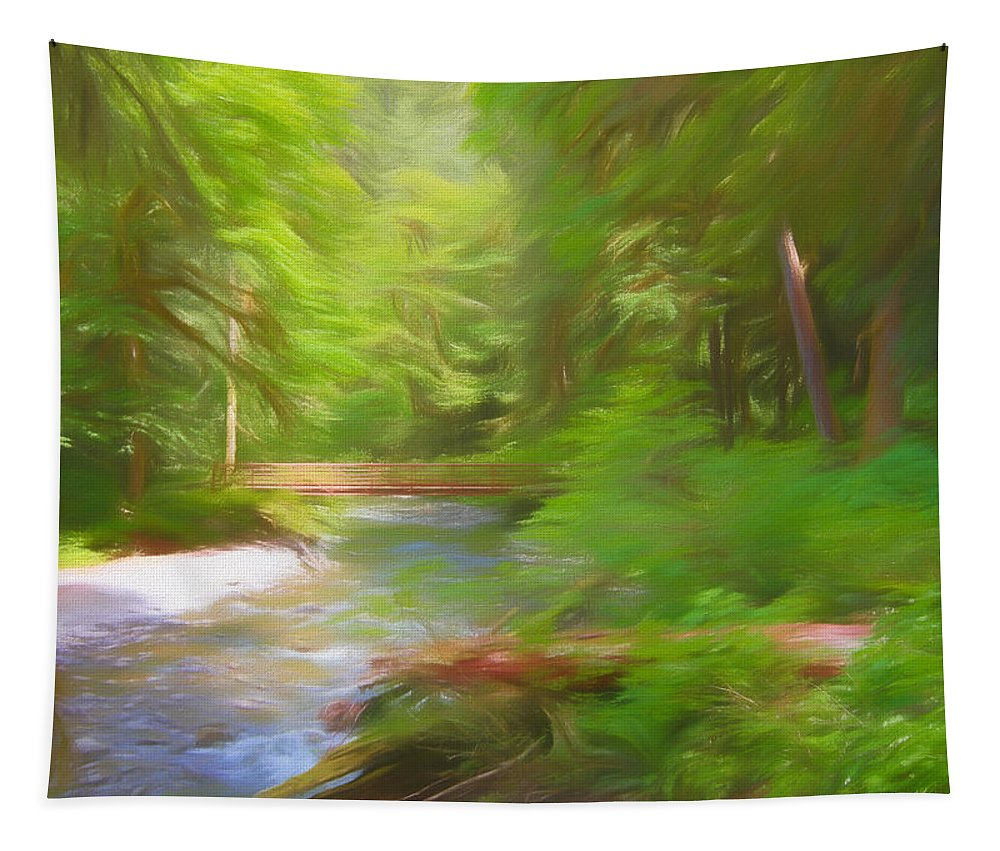 Red Bridge In Green Forest Tapestry featuring the painting Red Bridge In Green Forest by Dan Sproul