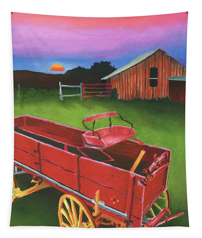 Texas Scenery Tapestry featuring the painting Red Buckboard Wagon by Stephen Anderson