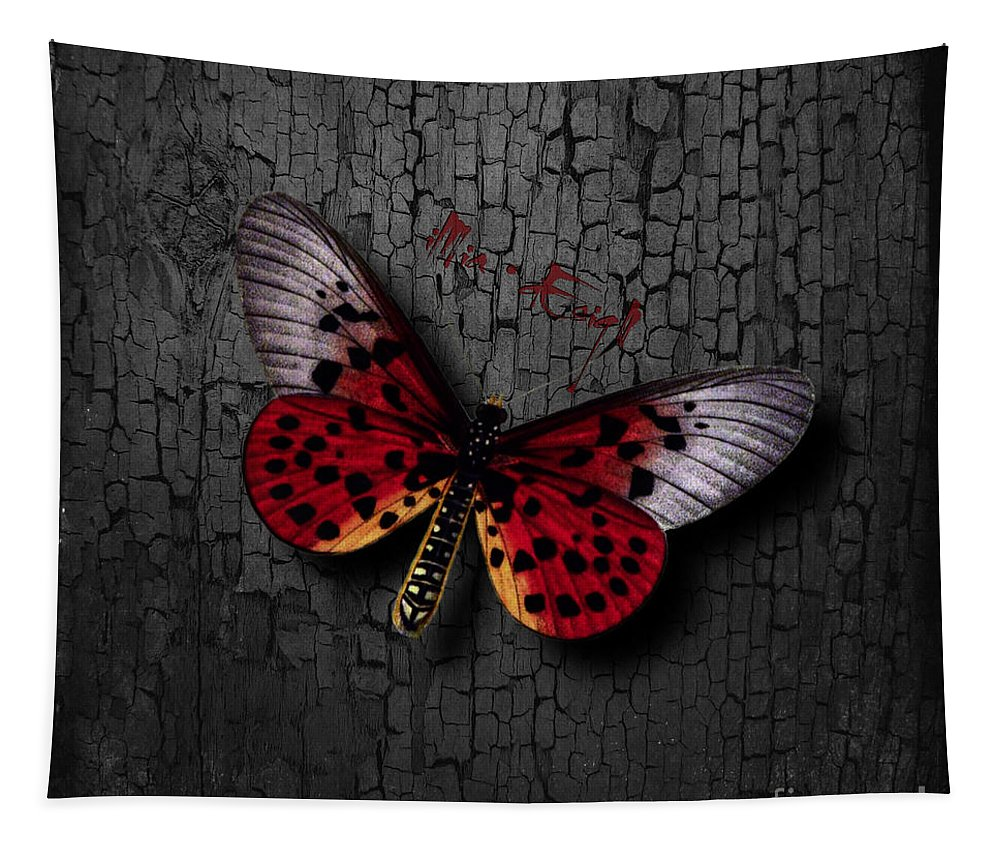 Imia Design Tapestry featuring the mixed media Red Butterfly by Maria Astedt