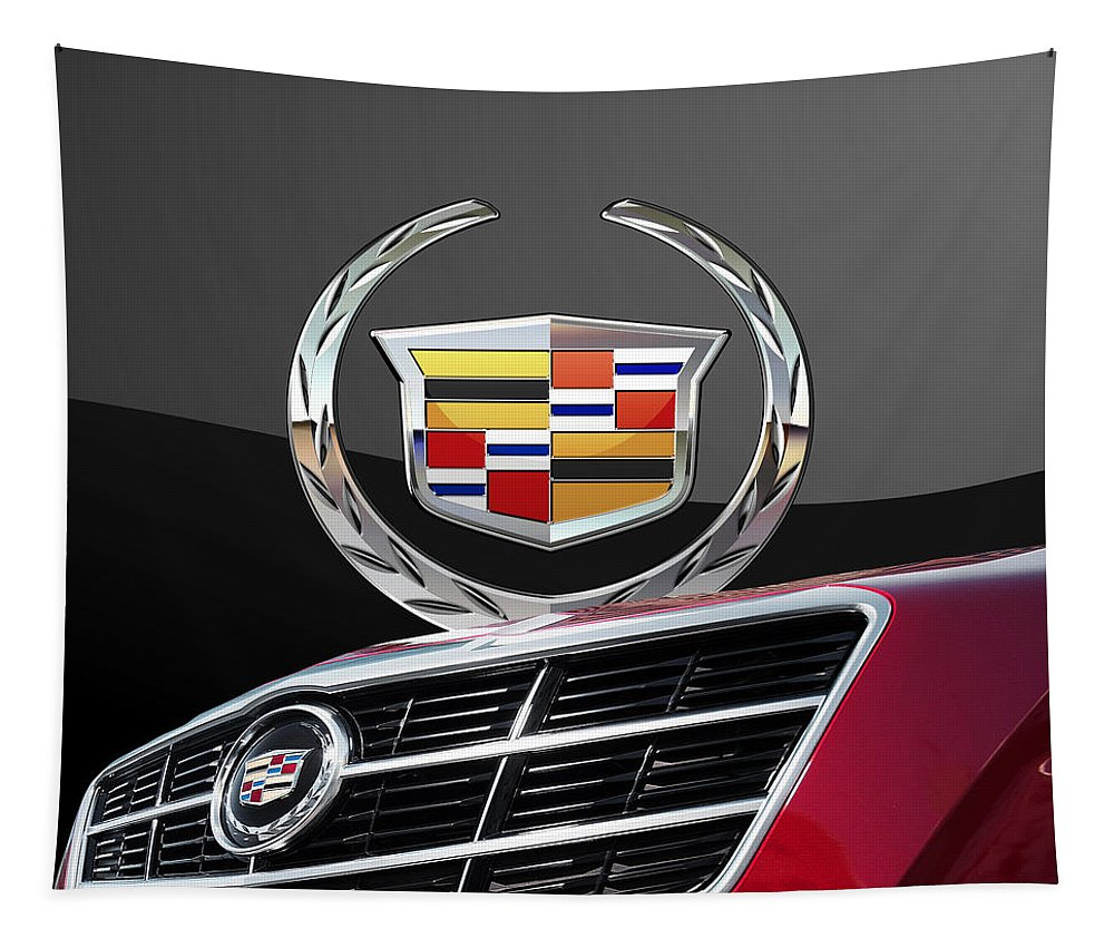 'auto Badges' By Serge Averbukh Tapestry featuring the photograph Red Cadillac C T S - Front Grill Ornament and 3D Badge on Black by Serge Averbukh