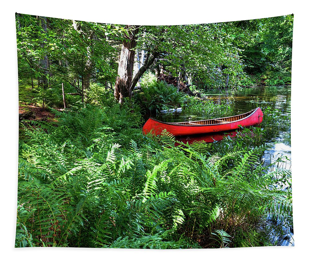 Red Canoe In The Adk Tapestry featuring the photograph Red Canoe In The Adk by David Patterson