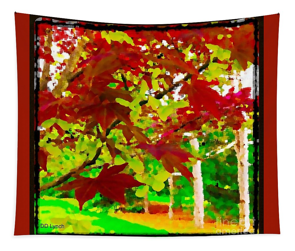 Red Tapestry featuring the photograph Red Chinese Maple Leaf's by Debra Lynch