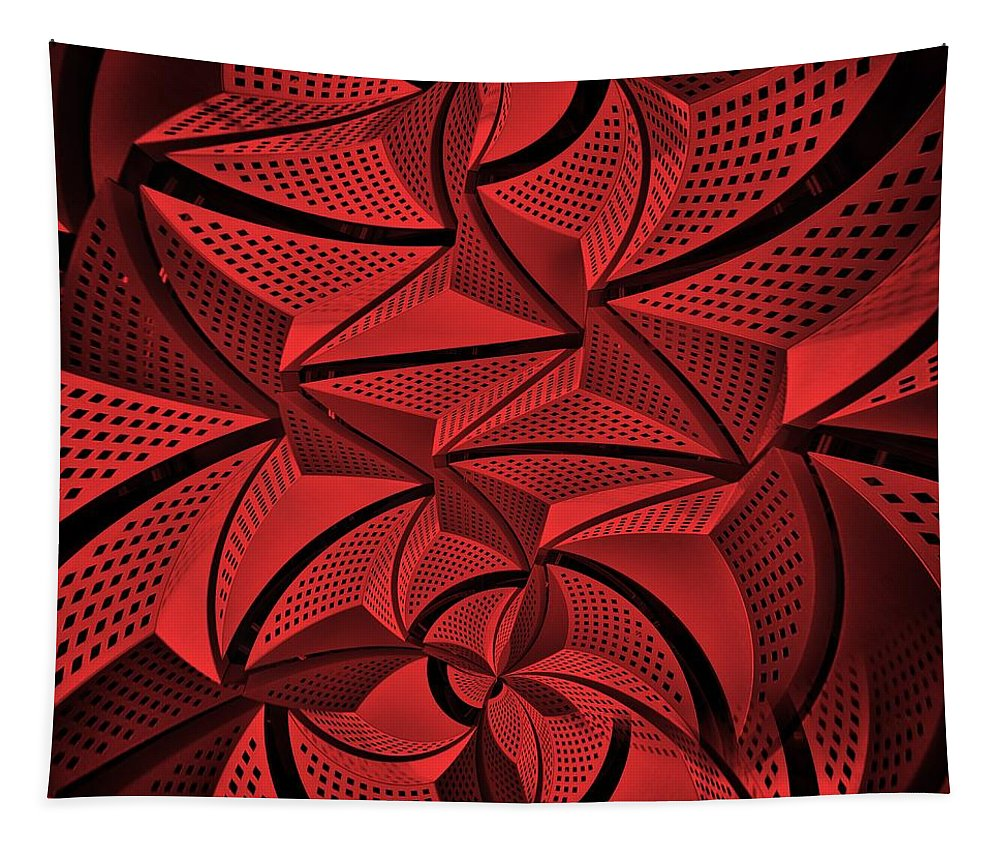 Digital Art Tapestry featuring the digital art Red City 3 by Philip Openshaw