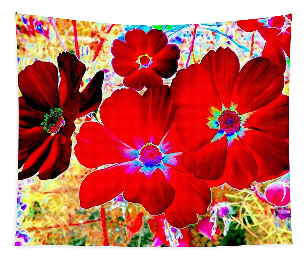 Red Cosmos Tapestry featuring the digital art Red Cosmos by Will Borden