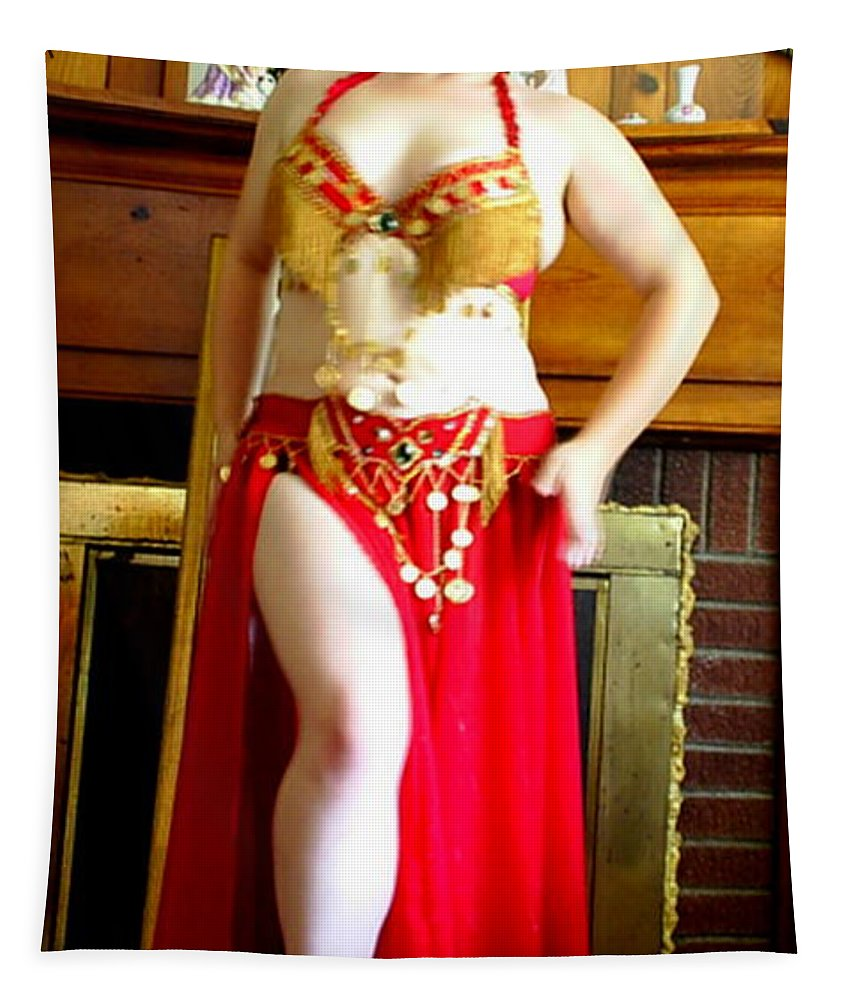Belly Dancer Tapestry featuring the photograph Red Costume by Scarlett Royal
