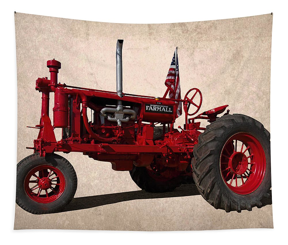 Farmall Tapestry featuring the photograph Red Farmall Tractor by Nick Gray