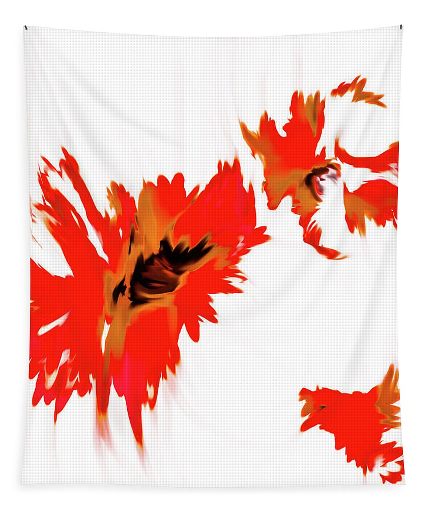 Red Floral Tapestry featuring the digital art Red Floating Florals by Heather Joyce Morrill