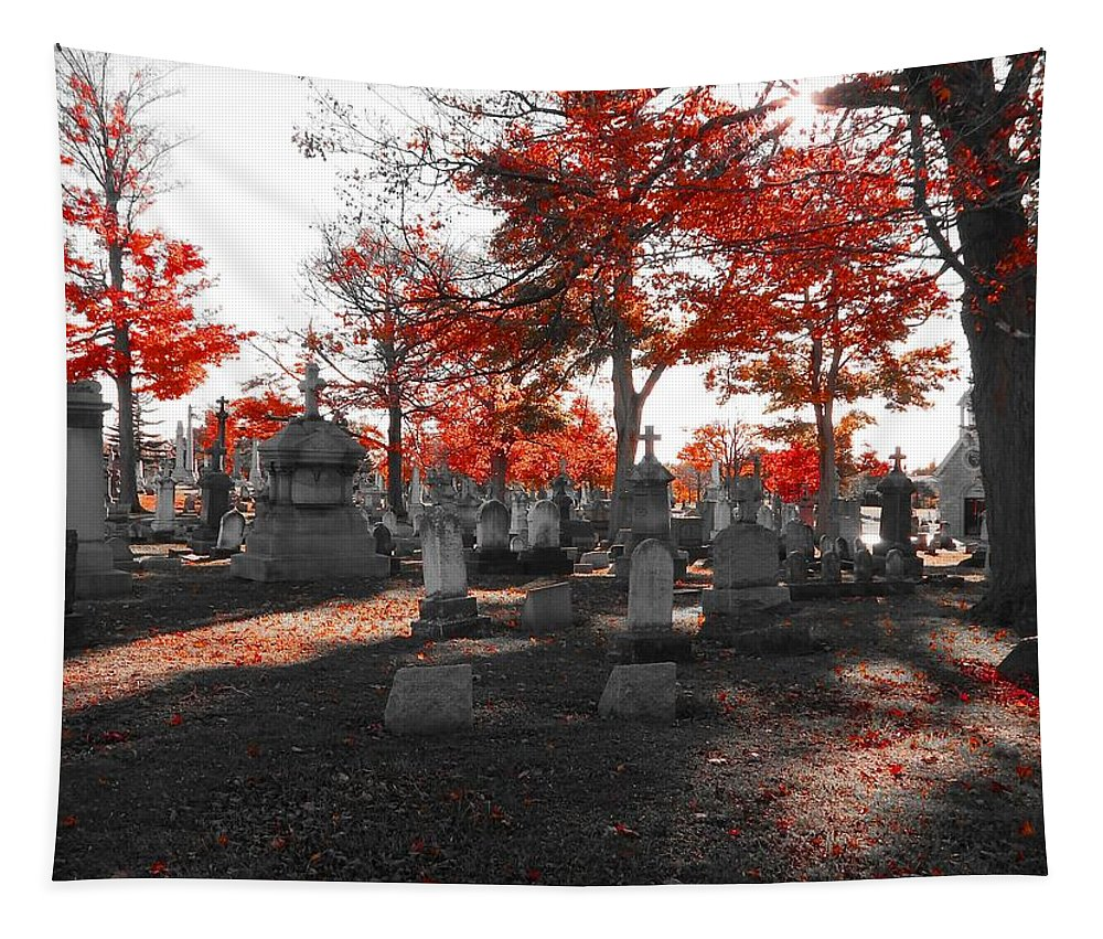 Gothic Photograph Tapestry featuring the photograph Red Fall Graveyard by Gothicrow Images