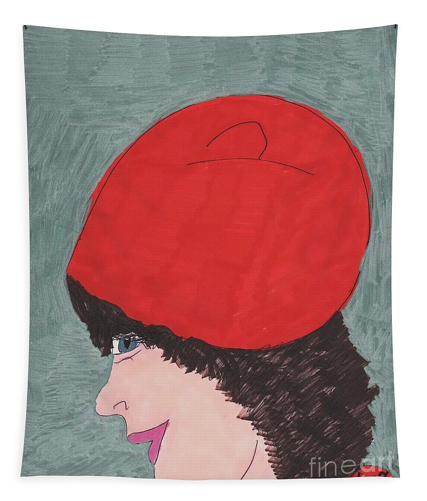 Lady With Dark Curly Hair In A Red Outfit Tapestry featuring the mixed media Red Hat by Elinor Helen Rakowski
