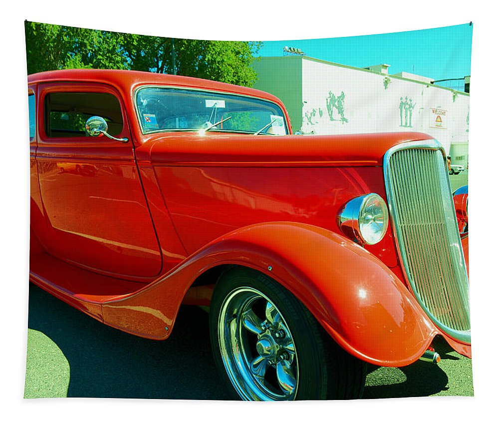 Red Tapestry featuring the photograph Red Hot Rod by Jeff Swan