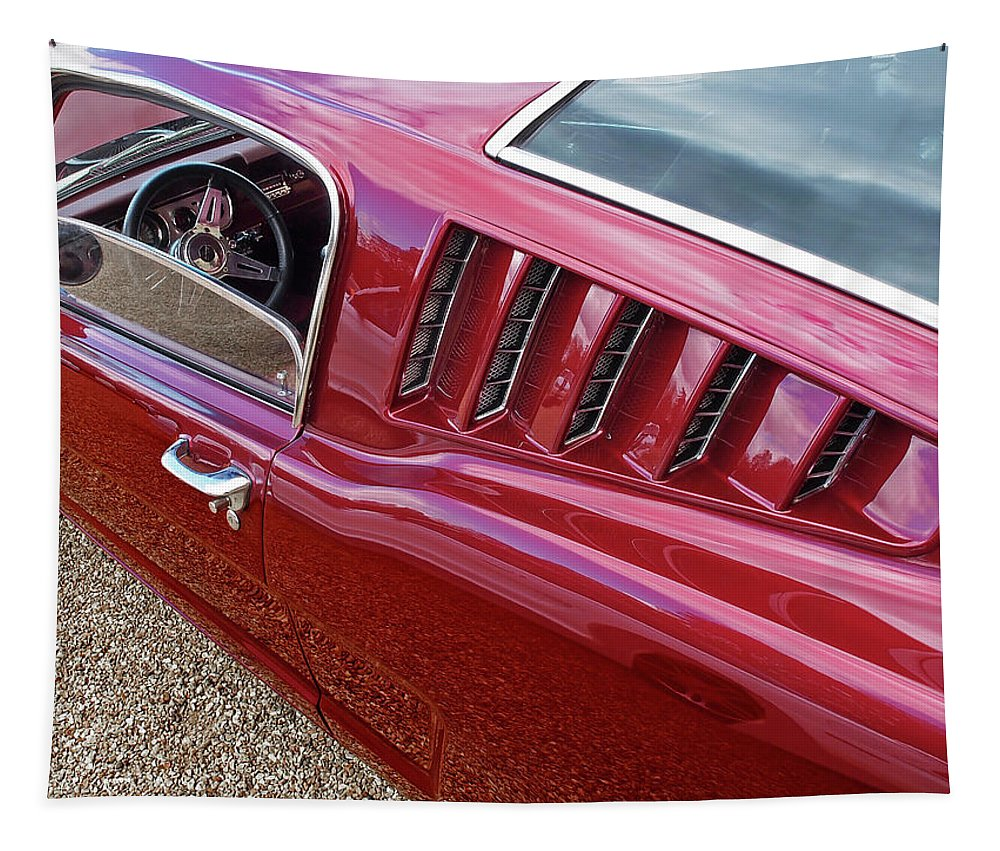 Classic Mustang Tapestry featuring the photograph Red Hot Vents - Classic Fastback Mustang by Gill Billington