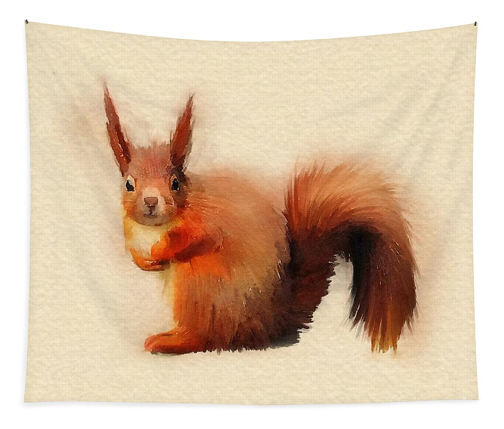 Red Squirrel Tapestry featuring the digital art Red Squirrel by John Edwards
