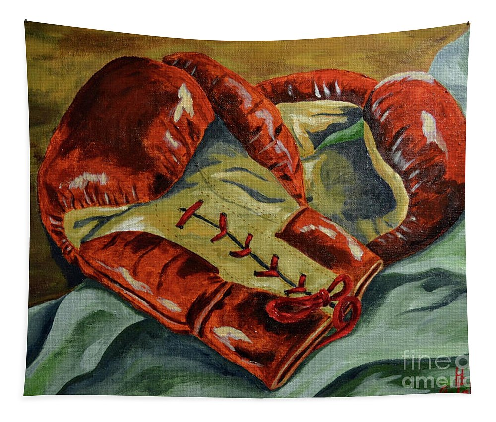 Boxing Sports Fighting Tapestry featuring the painting Red Laces by Herschel Fall