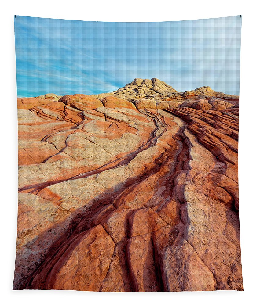 White Pocket Tapestry featuring the photograph Red Lines by Mike Dawson