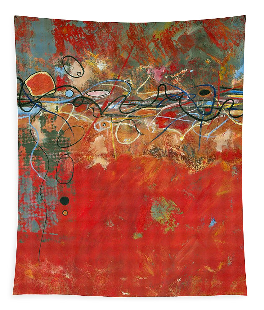 ruth Palmer Abstract Gestural Color Red Painting Acrylic Black Orange Blue Yellow Green Decorative Tapestry featuring the painting Red Meander by Ruth Palmer