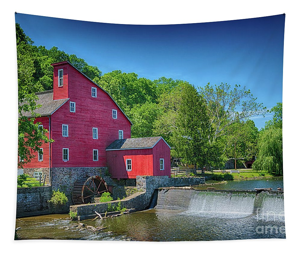 Red Mill Of Clinton New Jersey Tapestry featuring the photograph Red Mill Of Clinton New Jersey by Priscilla Burgers