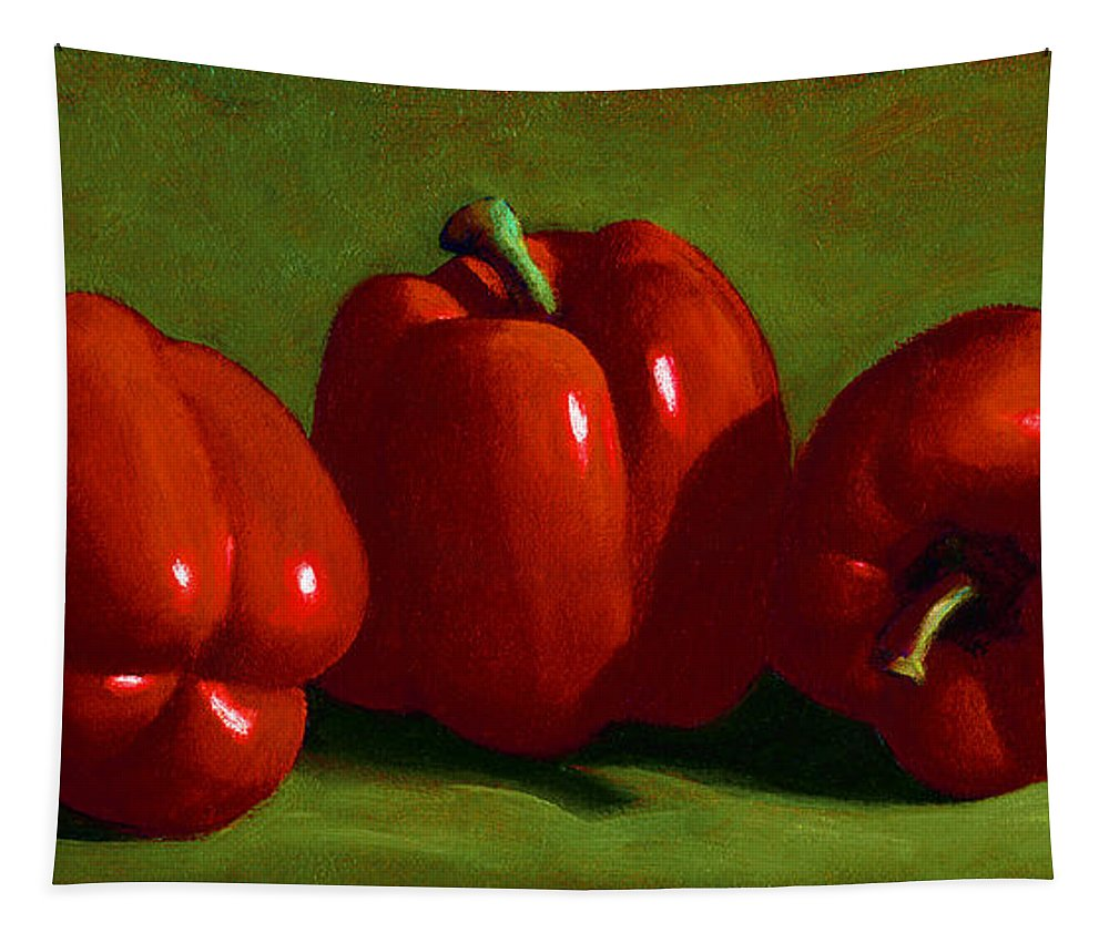 Red Peppers Tapestry featuring the painting Red Peppers by Frank Wilson
