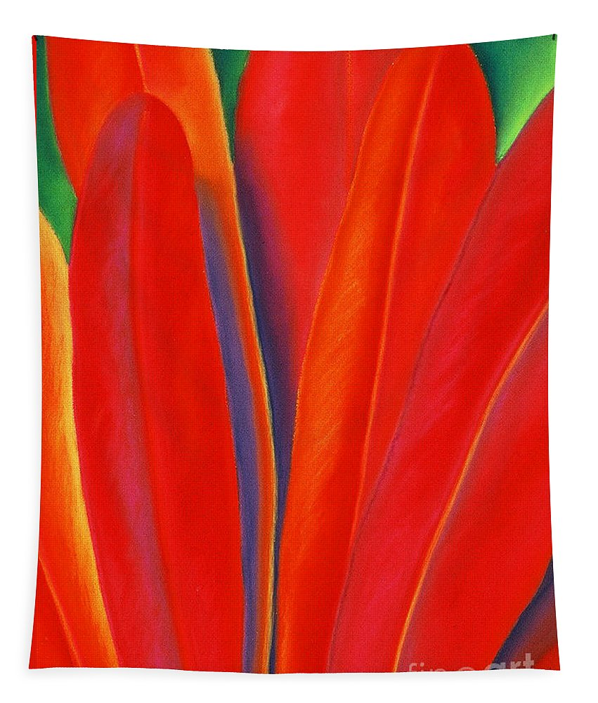 Red Tapestry featuring the painting Red Petals by Lucy Arnold