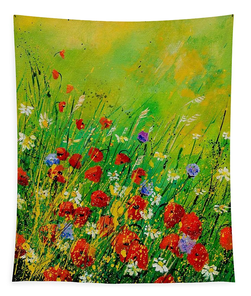 Flowers Tapestry featuring the painting Red Poppies 450708 by Pol Ledent