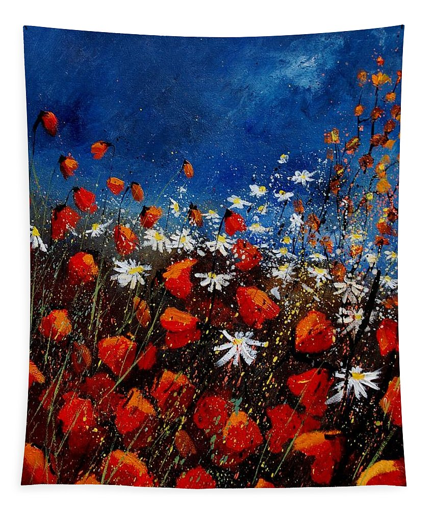Flowers Tapestry featuring the painting Red Poppies 451108 by Pol Ledent