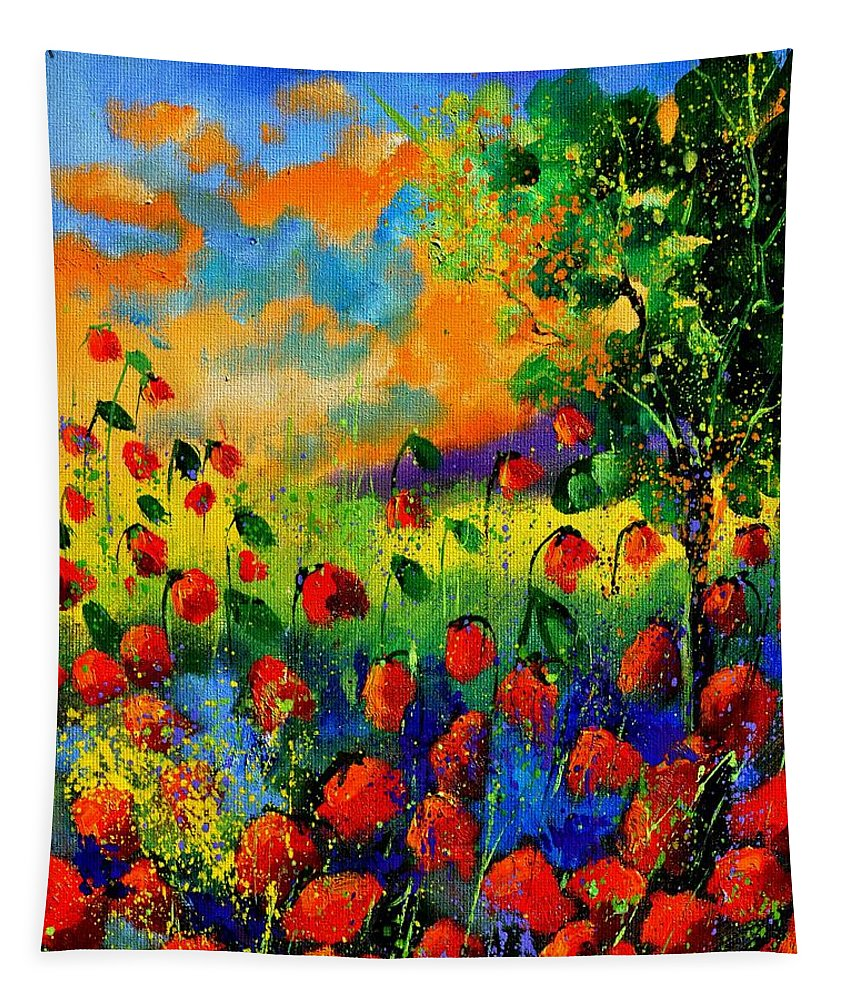 Flowers Tapestry featuring the painting Red Poppies 45150 by Pol Ledent