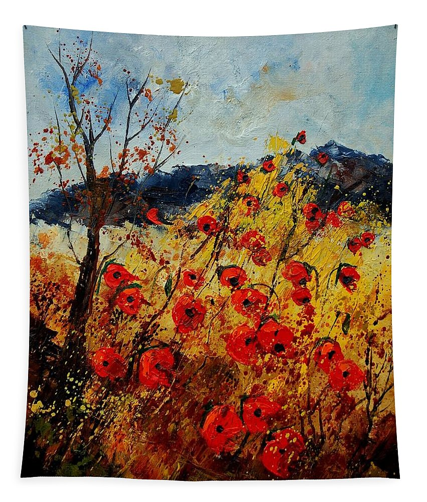 Poppies Tapestry featuring the painting Red Poppies In Provence by Pol Ledent
