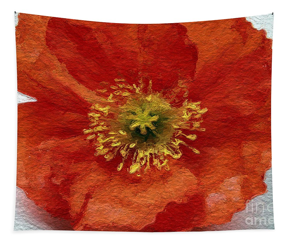 Poppy Tapestry featuring the mixed media Red Poppy by Linda Woods