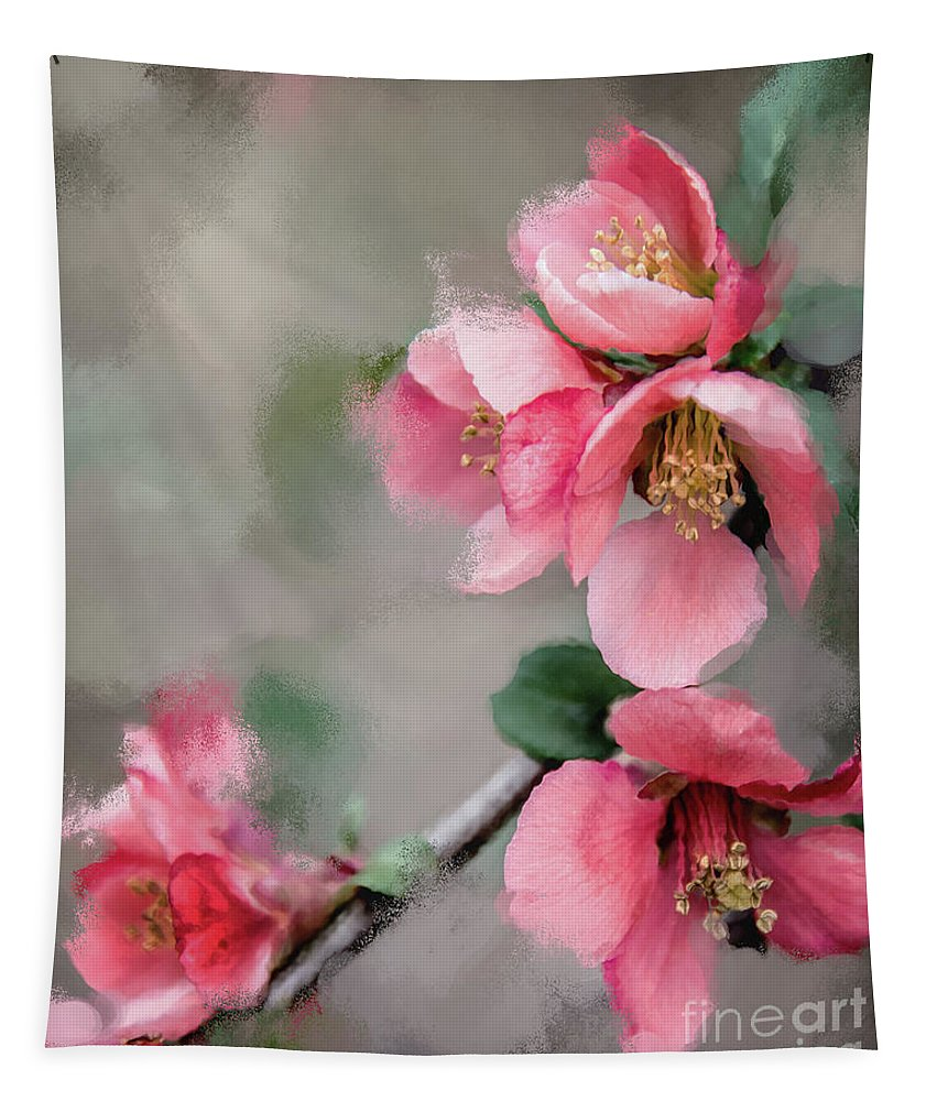 Red Quince Tapestry featuring the digital art Red Quince by Anita Faye