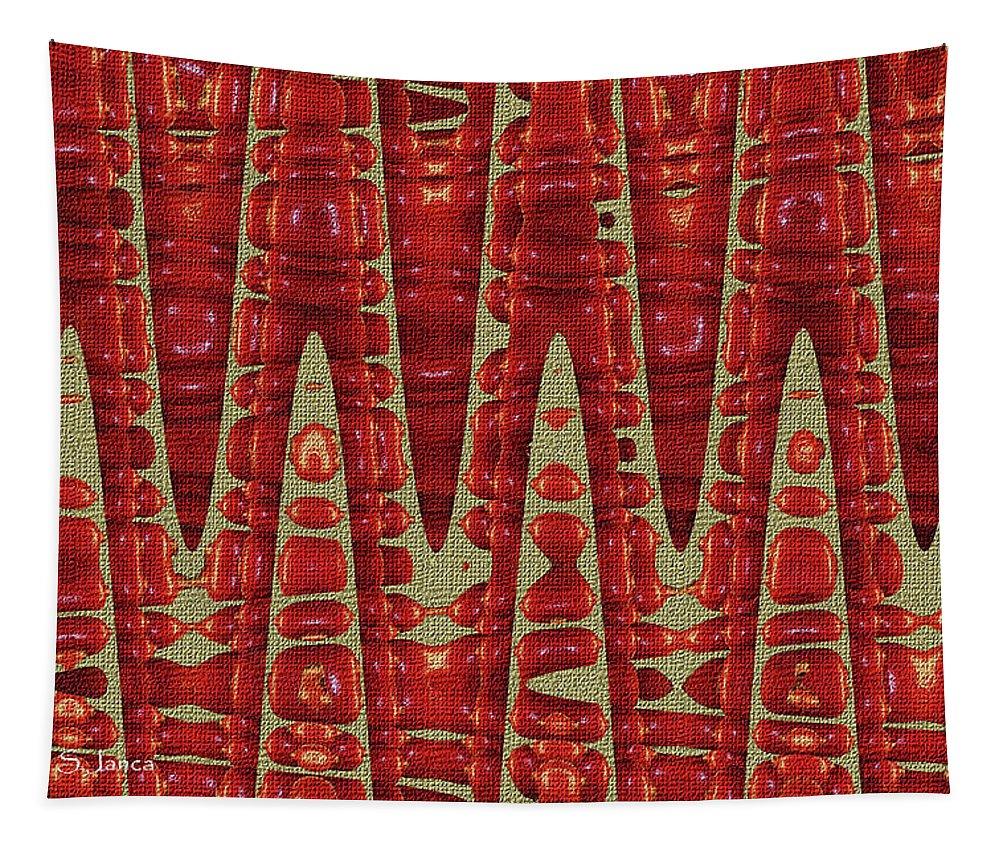 Red Ripe Pomagranite Abstract Tapestry featuring the digital art Red Ripe Pomagranite Abstract by Tom Janca