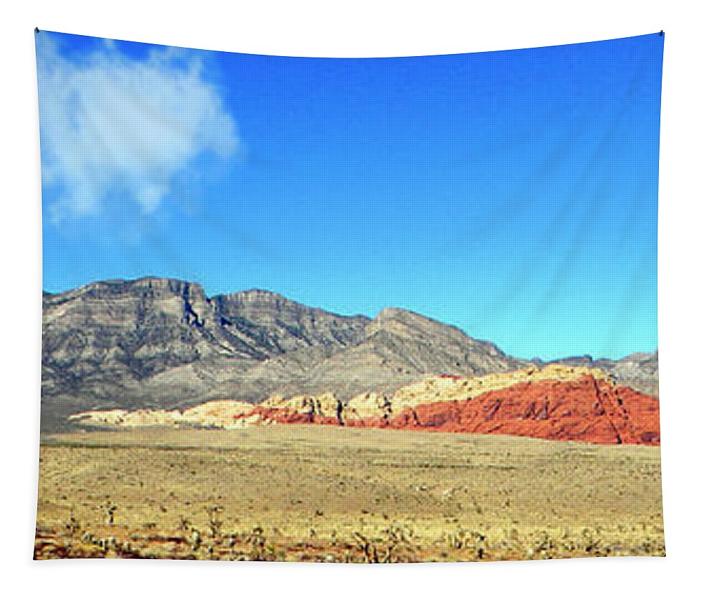 Frank Wilson Tapestry featuring the photograph Red Rocks Nevada Panorama by Frank Wilson