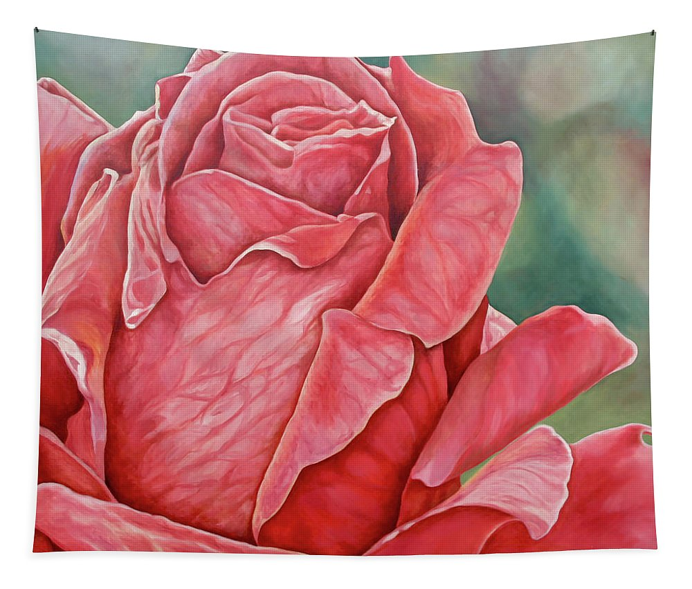 Oil Painting Tapestry featuring the painting Red Rose 93 by Steven Ward
