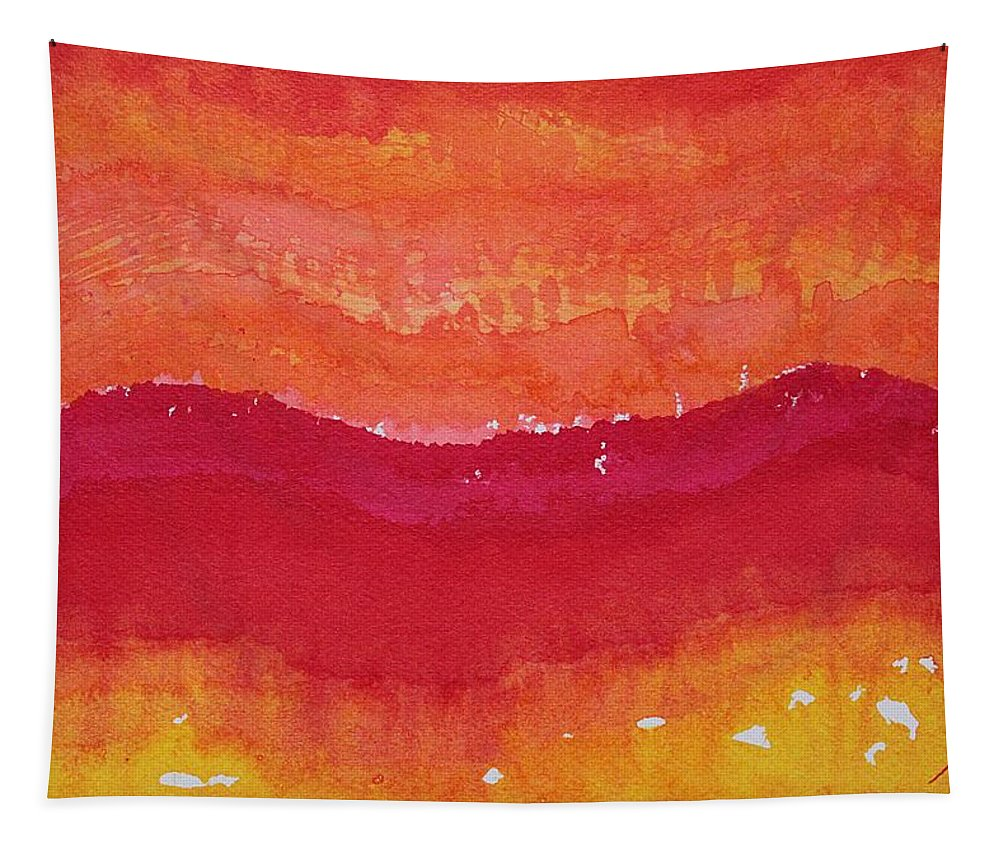 Ink Tapestry featuring the painting Red Saddle Original Painting by Sol Luckman