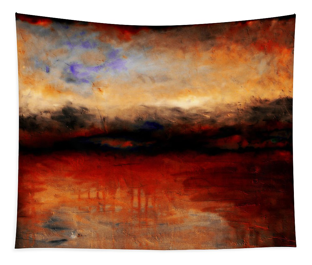Night Tapestry featuring the painting Red Skies At Night by Michelle Calkins