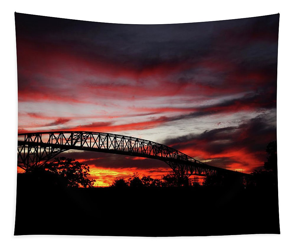 Pleasure Island Tapestry featuring the photograph Red Skies At Pleasure Island Bridge by Judy Vincent