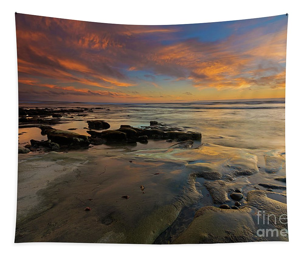 Carlsbad Beach Tapestry featuring the photograph Red Sky California by Mike Dawson