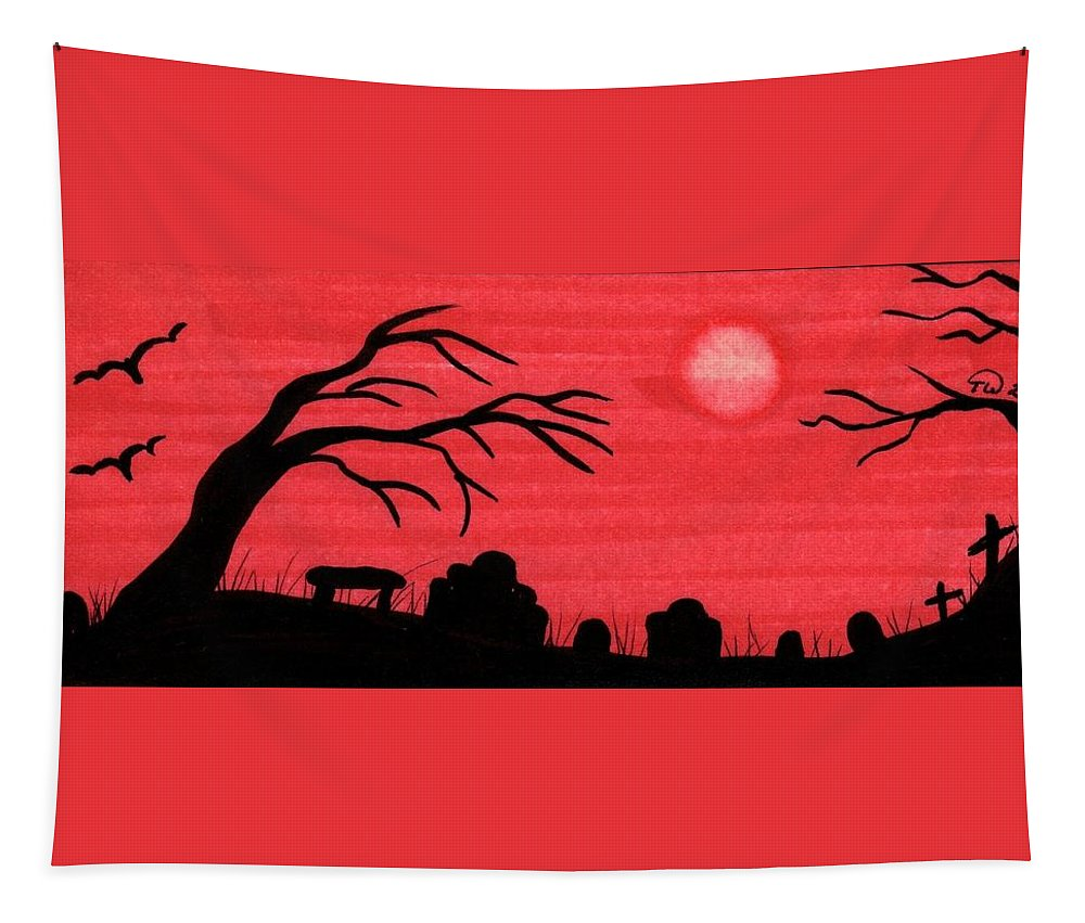 Landscape Tapestry featuring the painting Red Sky Cemetery by Tambra Wilcox