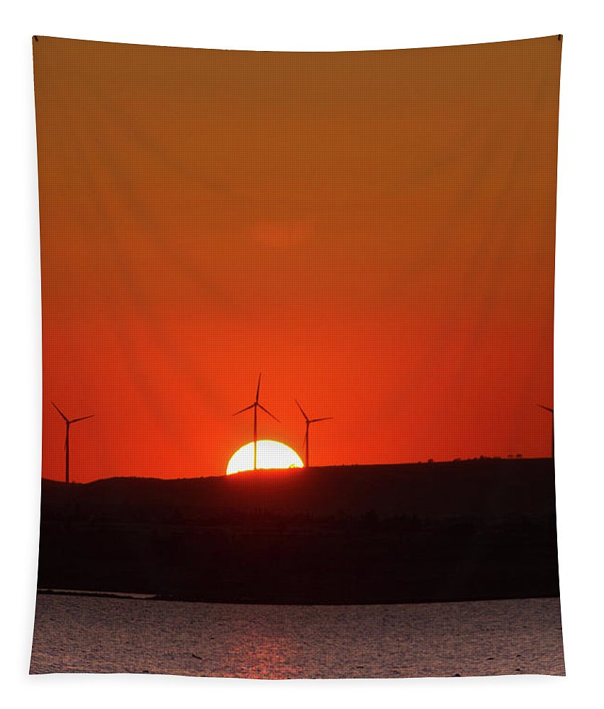 Wind Tapestry featuring the photograph Red Sunset by Stelios Kleanthous